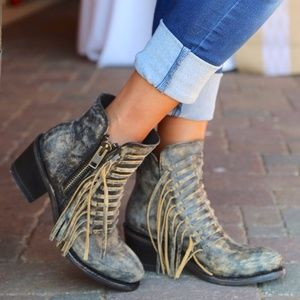Corral Leather Western Side Fringe Ankle Boots